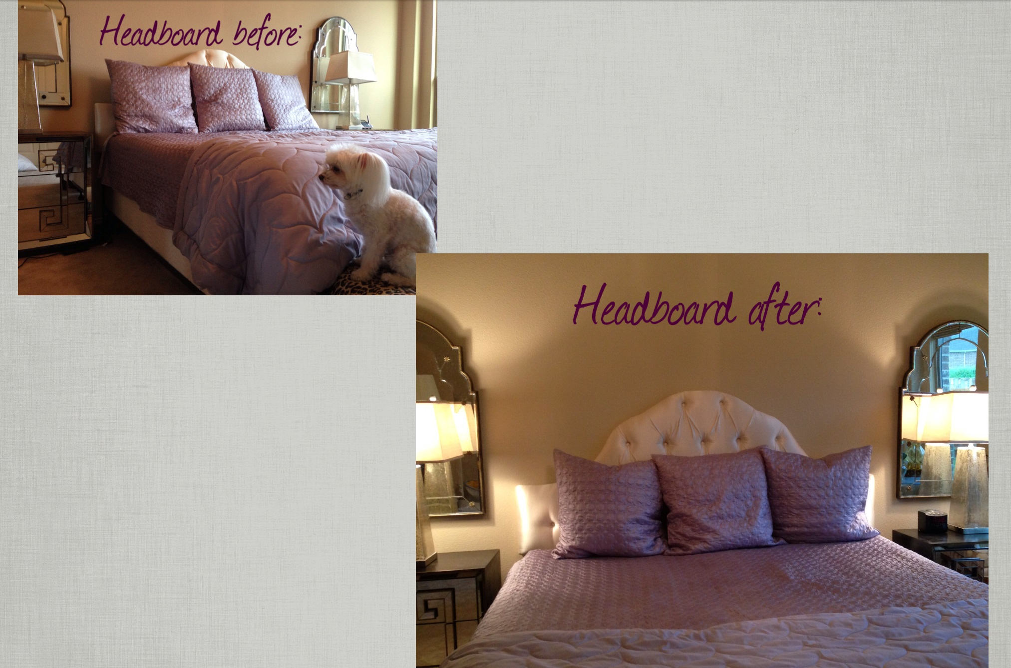 Headboard before & after