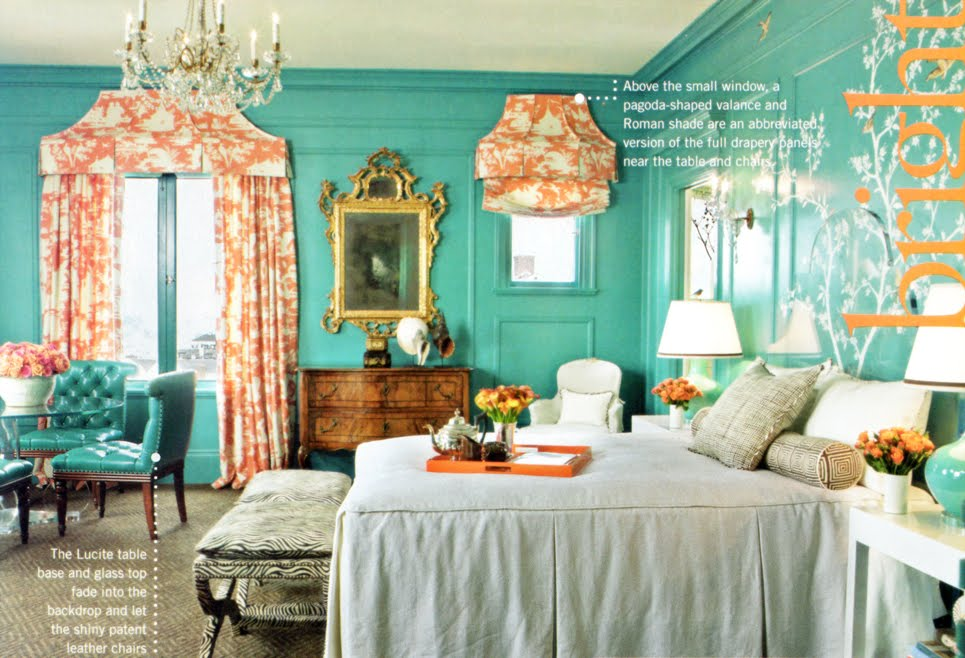 Turquoise and coral for the Living/Dining Room.