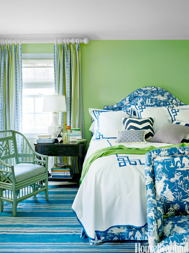 Another blue and green room to inspire the Master  color scheme.  Meg Braff