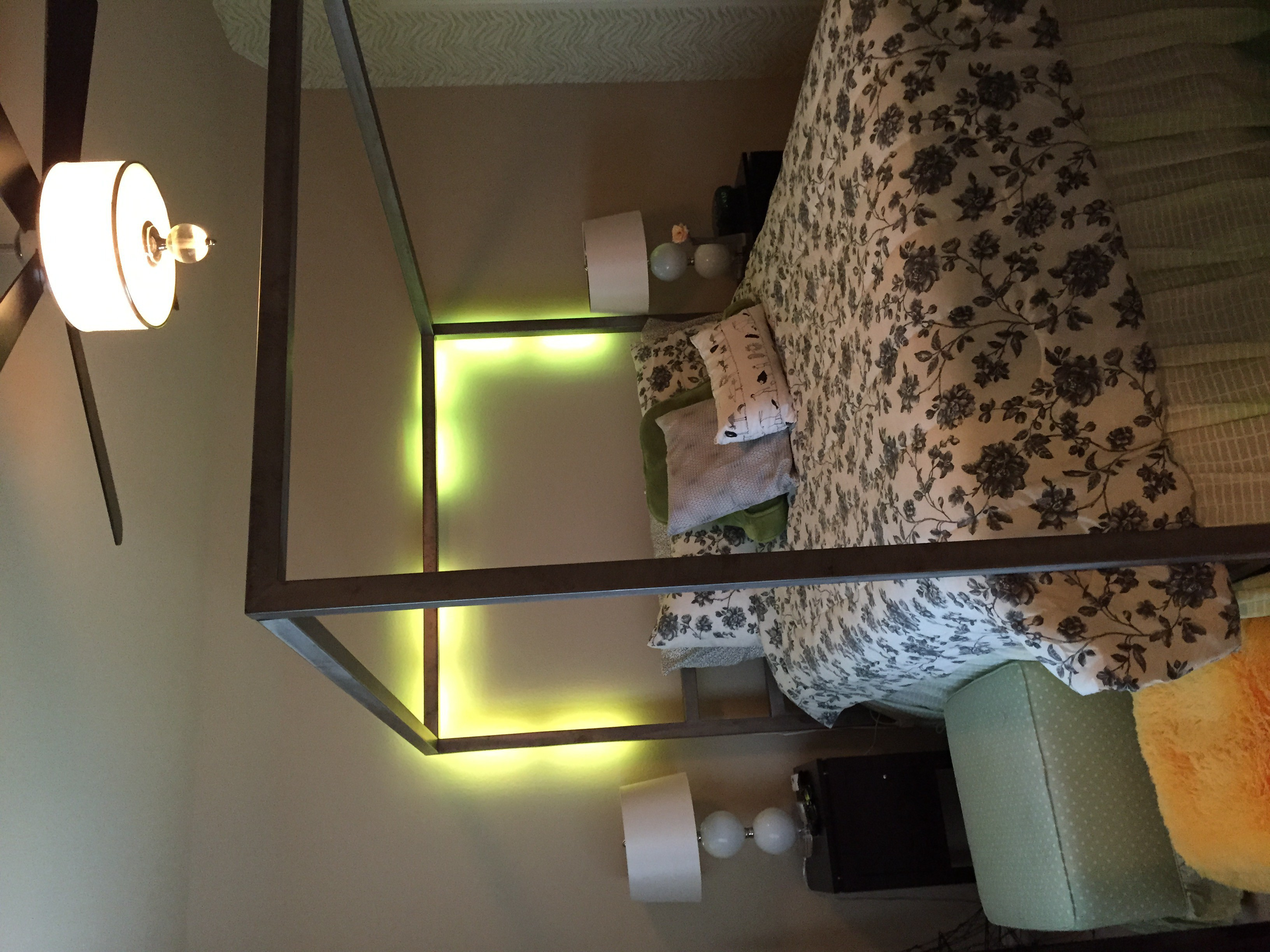 Poster bed with led lights.