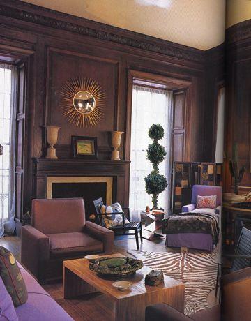 Albert Hadley Room in chocolate brown and purple.