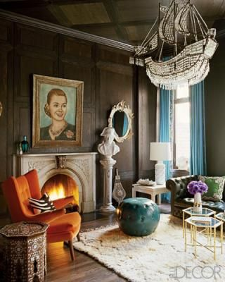 Jonathan Adler Room in chocolate brown and turquoise.