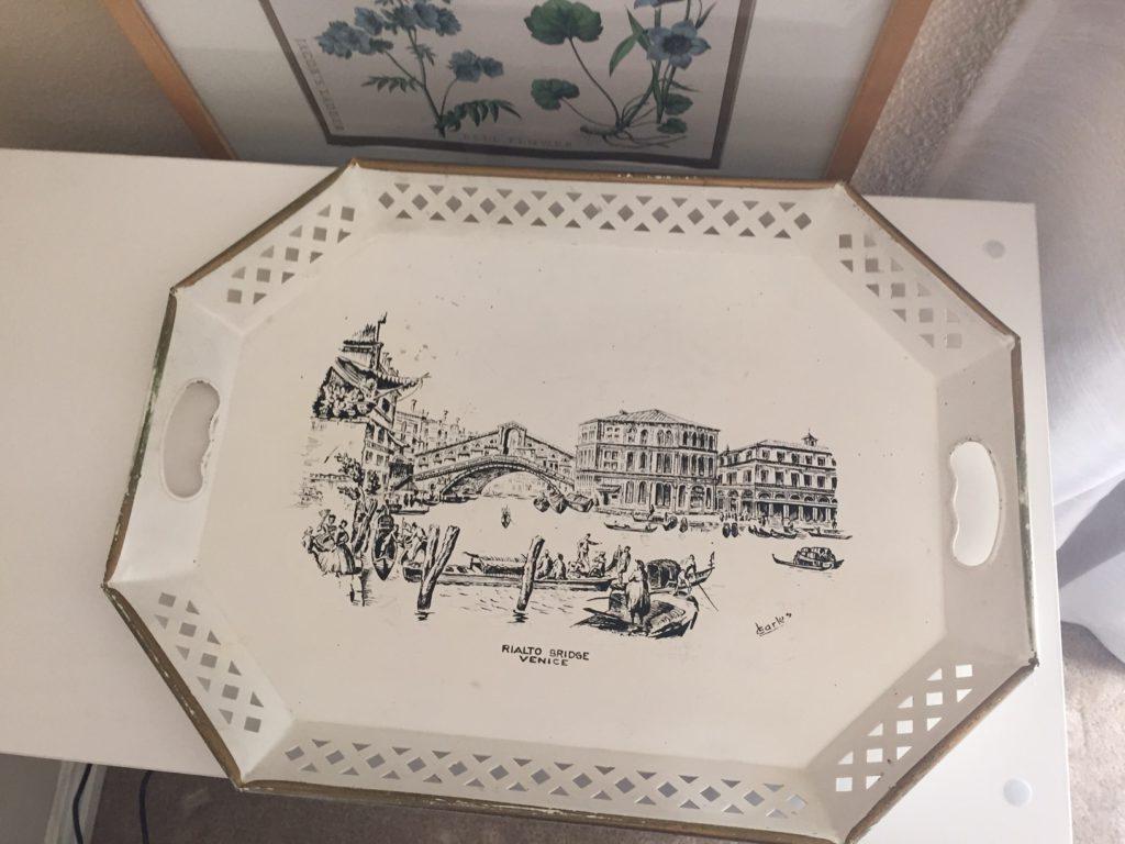 Hand-painted Italian tray.